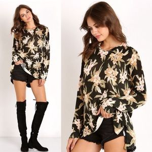 Show Me Your Mumu Forest Floral Black Sweater